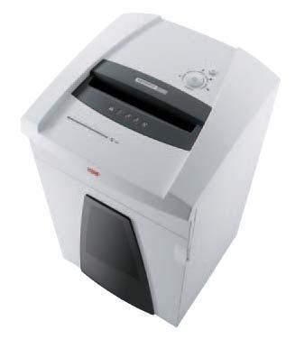 Niszczarka HSM SECURIO P36  Mobilny, wysokowydajny model dla całych departamentów lub pieter biurowych. Z łatwością niszczy karty kredytowe jak również płyty CD i dyskietki. Obsługa za pomocą wielofunkcyjnego przycisku, zintegrowanego z blokadą bezpieczeństwa. Skladana osłona bezpieczeństwa z czujnikiem dotyku. Wyposażona w system automatycznego oliwienia noży tnących (wersje niszczące na ścinki). System zarządzania energią EMCS. Pojemny kosz na ścinki wielorazowego użytku. Podgląd poziomu zapełnienia przez półprzeźroczyste okno. Specjalny, oddzielny zespół do niszczenia płyt CD w dwóch wariantach: standardowy (trzeci stopień bezpieczeństwa) oraz najwyższy stopień bezpieczeństwa - OMDD (opcja).