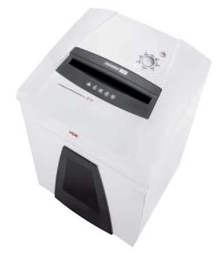 Niszczarka HSM SECURIO P40  Mobilny, wysokowydajny model dla całych departamentów lub pieter biurowych. Z łatwością niszczy karty kredytowe jak również płyty CD i dyskietki. Obsługa za pomocą wielofunkcyjnego przycisku, zintegrowanego z blokadą bezpieczeństwa. Skladana osłona bezpieczeństwa z czujnikiem dotyku. Wyposażona w system automatycznego oliwienia noży tnących (wersje niszczące na ścinki). System zarządzania energią EMCS. Pojemny kosz na ścinki wielorazowego użytku. Podgląd poziomu zapełnienia przez półprzeźroczyste okno. Specjalny, oddzielny zespół do niszczenia płyt CD w dwóch wariantach: standardowy (trzeci stopień bezpieczeństwa) oraz najwyższy stopień bezpieczeństwa - OMDD (opcja).