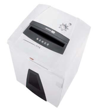 Niszczarka HSM SECURIO P44  Wysokowydajny model zasilany napięciem 230V, przeznaczony do pracy dla całych departamentów lub archiwów. Obsługa za pomocą wilofunkcyjnego przycisku, zintegrowanego z blokadą bezpieczeństwa. Autoreverse w przypadku zacięcia papieru. Składana osłona bezpieczeństwa z czujnikiem dotyku. Wyposażona w system automatycznego oliwienia nozy tnących (wersje niszczące na ścinki). Specjalny, oddzielny zespół do niszczenia płyt CD w dwóch wariantach: standardowy (trzeci poziom bezpieczeństwa) oraz najwyższy stopień bezpieczeństwa - OMDD (opcja). Opjonalnie wykrywacz metalu w wybranych stopniach bezpieczeństwa. System zarządzania energią EMCS. Zintegrowana funkcja PAPERcontrol zapobiegająca zatorom papieru poprzez elektroniczny pomiar ilości niszczonych dokumentów. Podgląd poziomu zapełnienia kosza przez półprzezroczyste okno. Duży pojemny kosz na ścinki wielorazowego użytku. Oddzielny kosz na niszczone płyty CD (opcja).