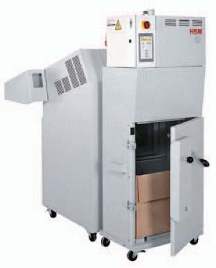 System niszcząco-belujący HSM SP 4040 V  Oszczędność miejsca dzięki połaczeniu dwoch urządzeń: niszczarki FA 400.2 i pracy KP 40V. Pobór materiał do niszczenia z blatu podawczego za pomocą elektrycznie napędzanego podajnika taśmowego. Niszczarka dokumentow z klawiaturą sterującą z funkcją pracy ciągłej i cofania, a także funkcją automatycznego cofania w przypadku wykrycia zacięcia papieru. Zintegrowana, ręczna olejarka zespołu tnącego ( tylko w wersji tnącej na ścinki). Jednoczesne niszczenie i prasowanie. Prasa wyposażona w nowoczesny sterownik oraz wózek do wyjmowania i transportu kartonu lub worka ze ścinkami (wyposażenie podstawowe: 5 kartonów, 5 worków plastikowych, stelaż na worek). Wskaźnik gotowych bel. Waga beli do 35 kg (pudła kartonowe).